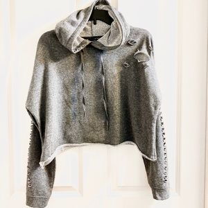 Grey distressed crop hoodie sweat top